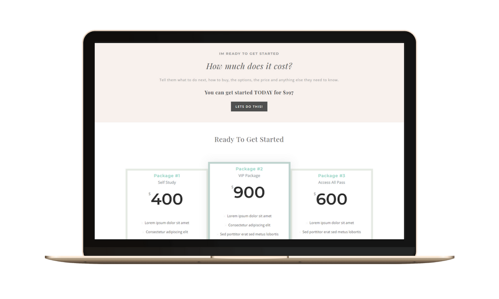 divi sales page template