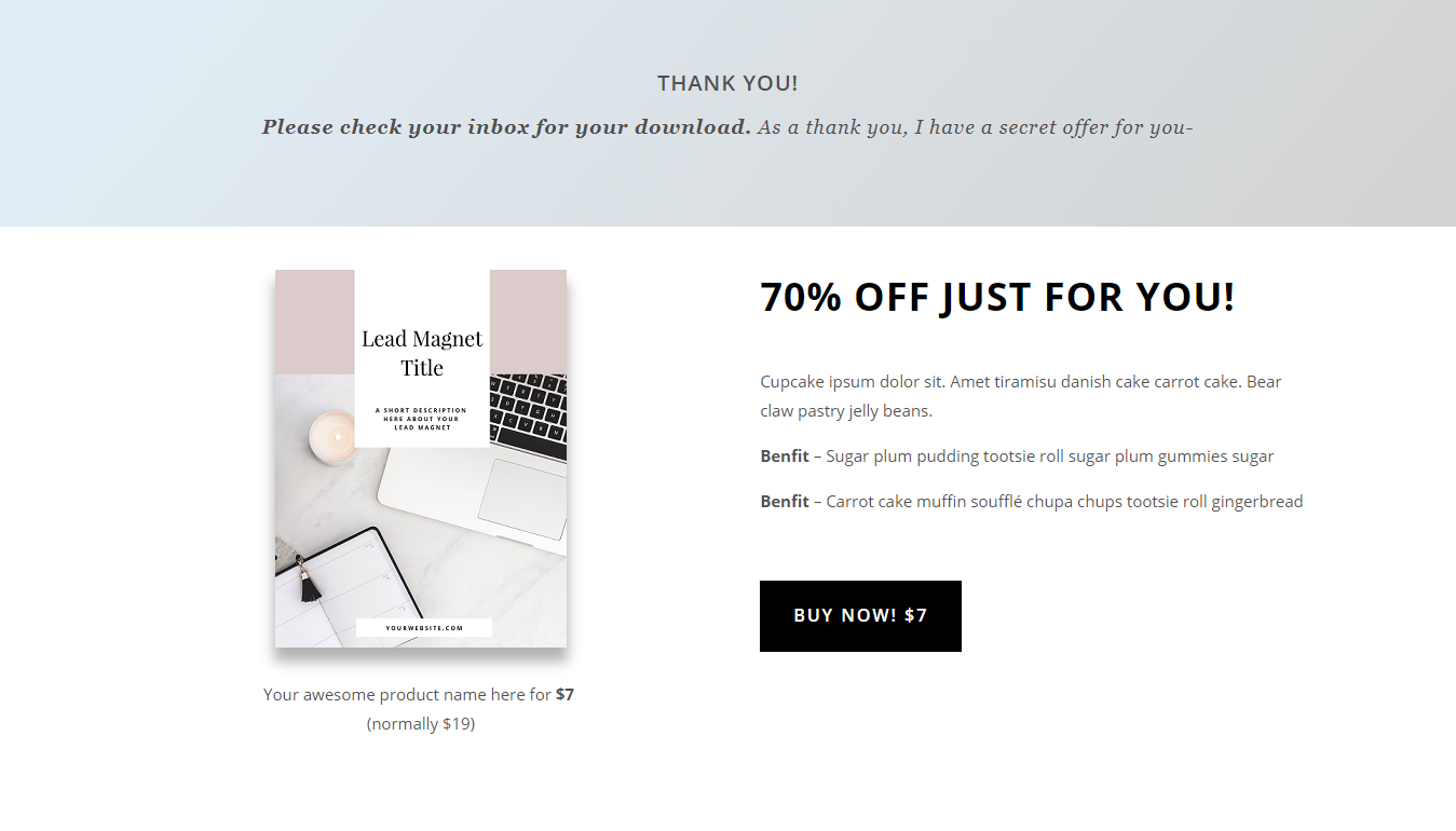 thank you page tripwire offer landing template