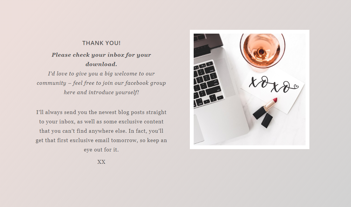 thank you page template next steps