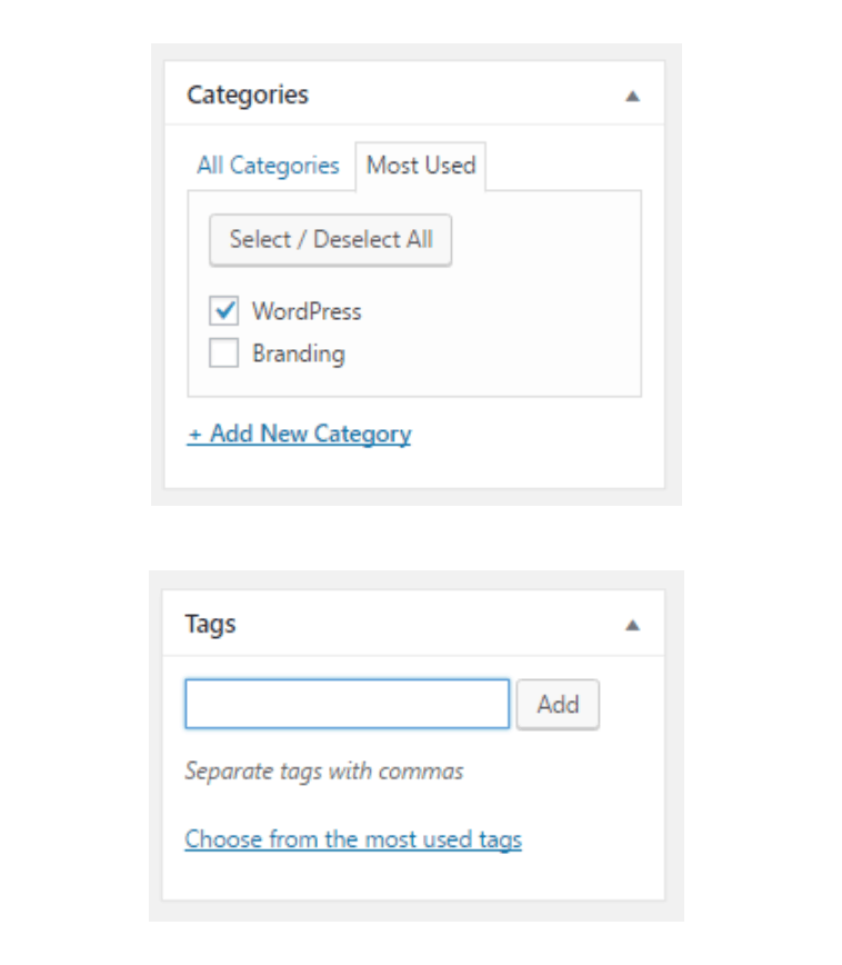 categories vs tags wordpress