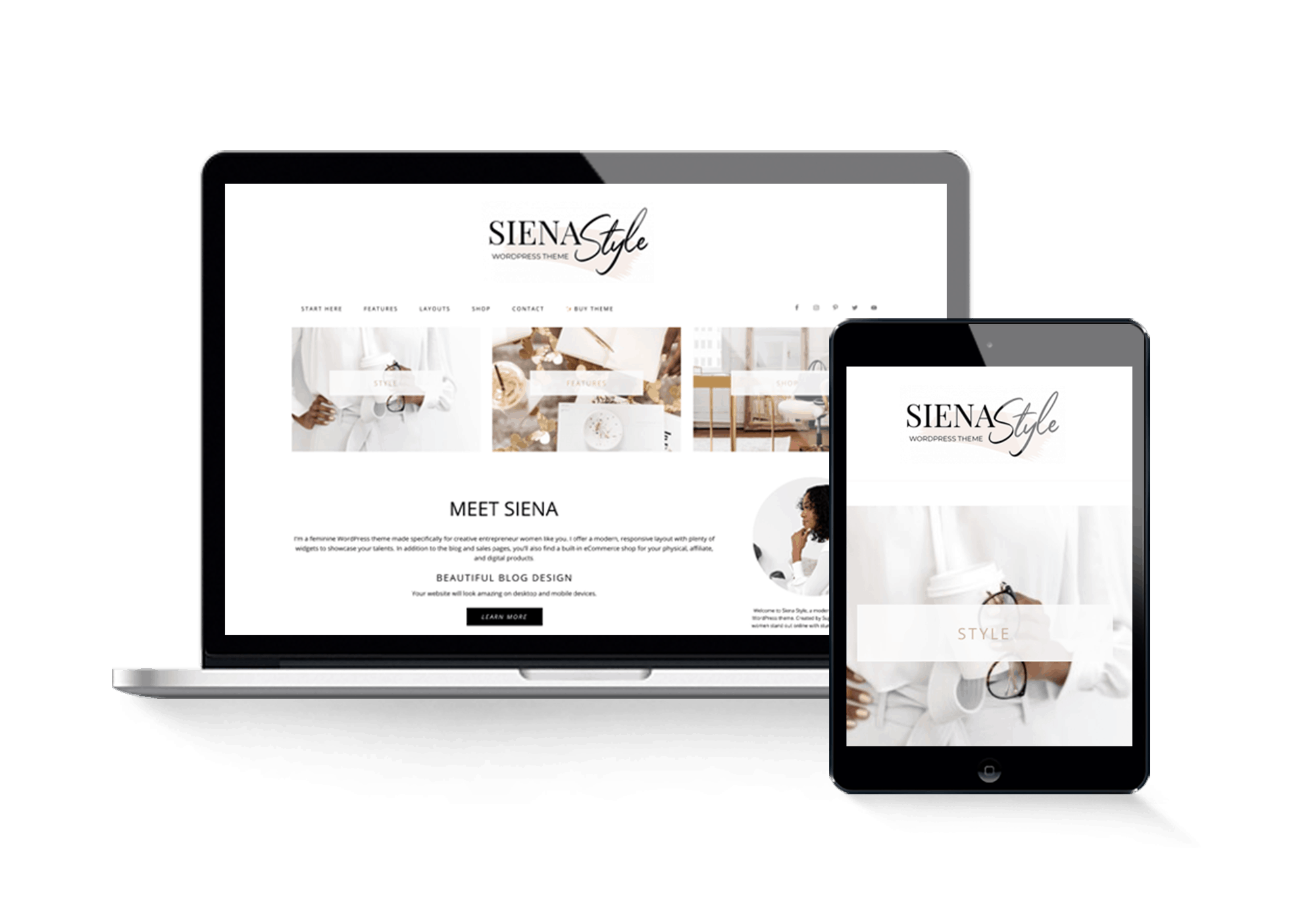 siena style wordpress theme feminine modern minimal clean pretty blog layout