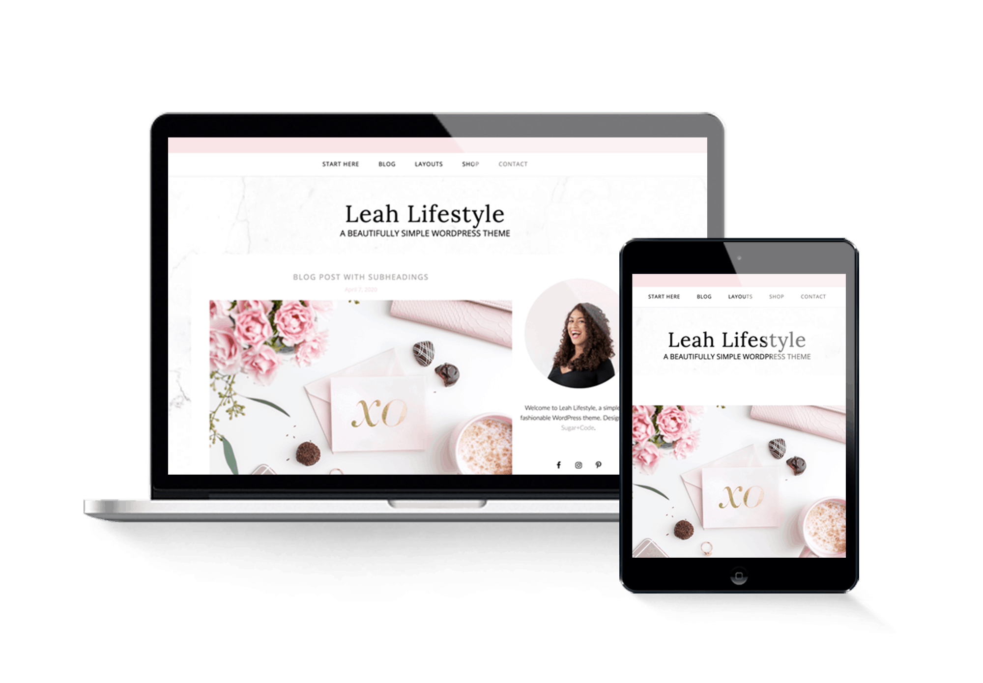 Leah lifestyle simple feminine wordpress theme