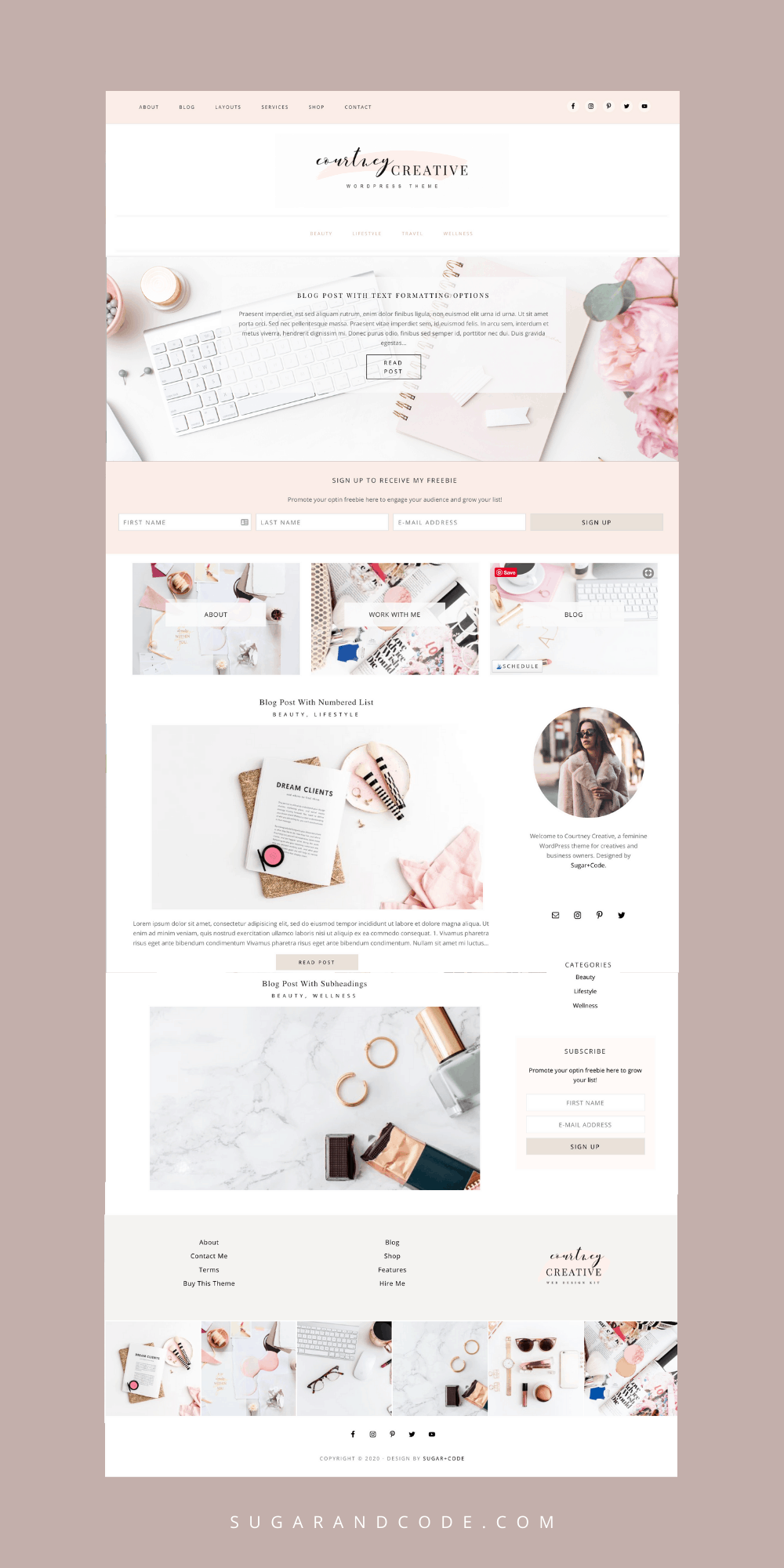 Best feminine WordPress themes for creative entrepreneurs Courtney Creative
