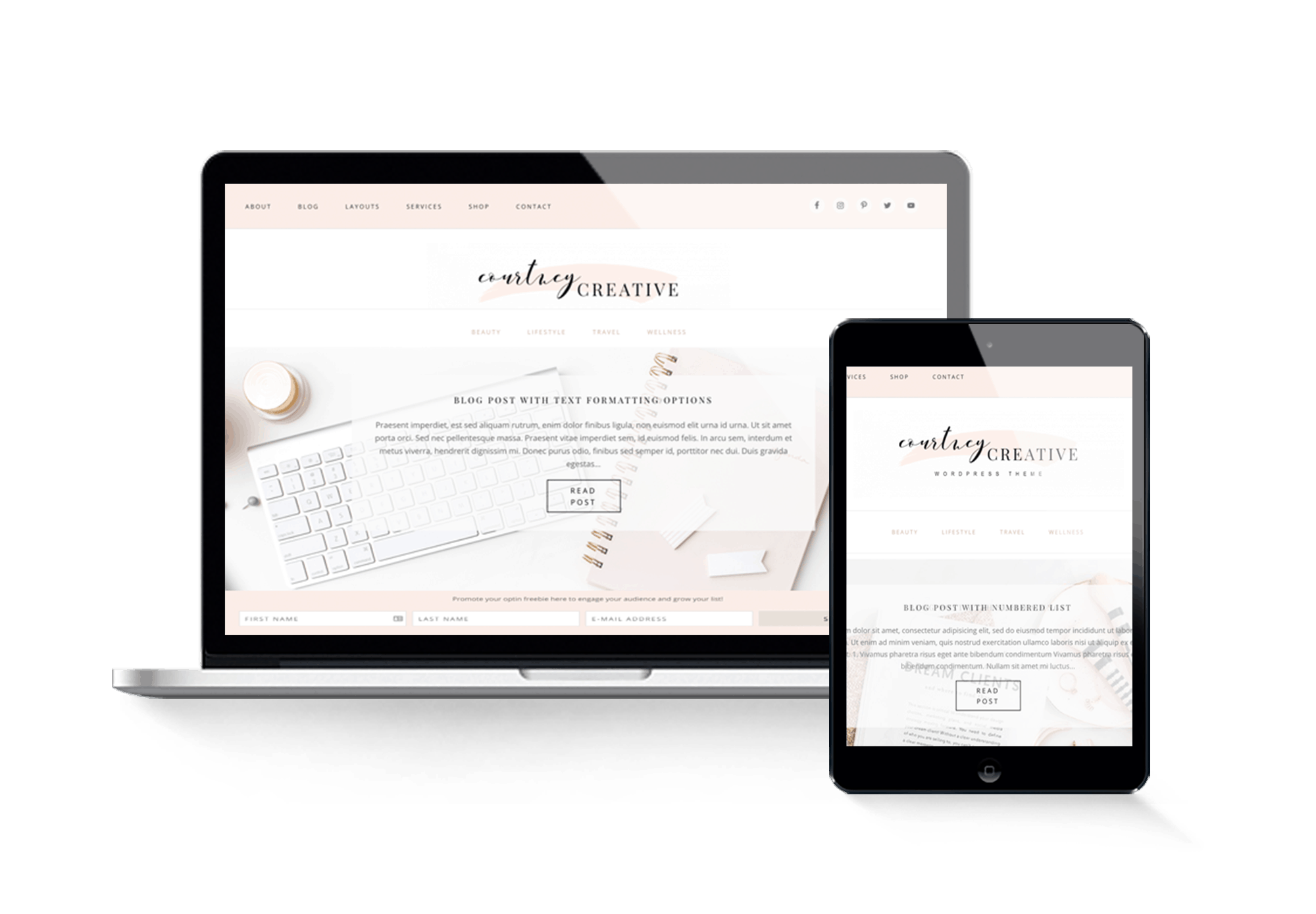 courtney creative feminine wordpress theme design for bloggers