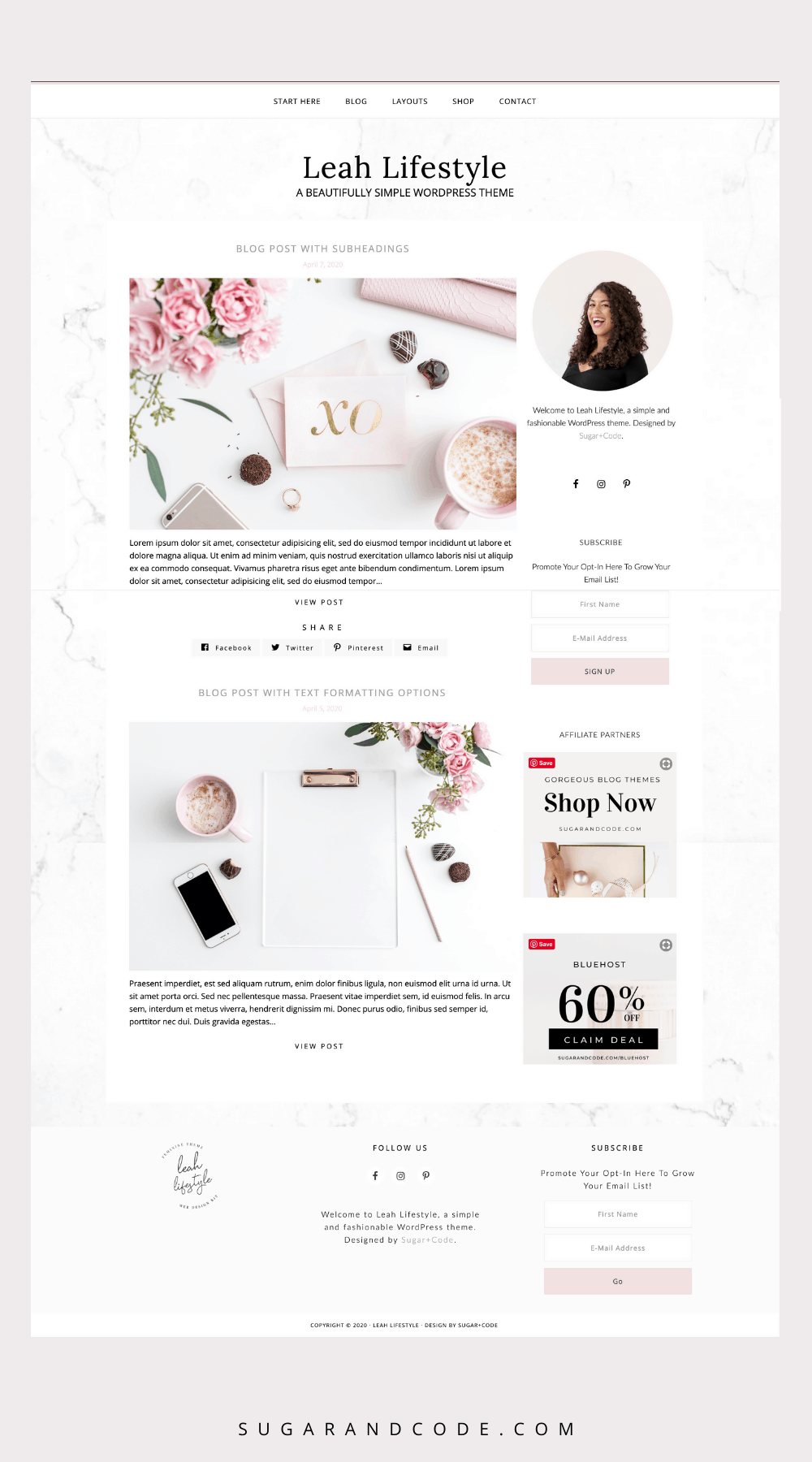 leah simple feminine wordpress theme