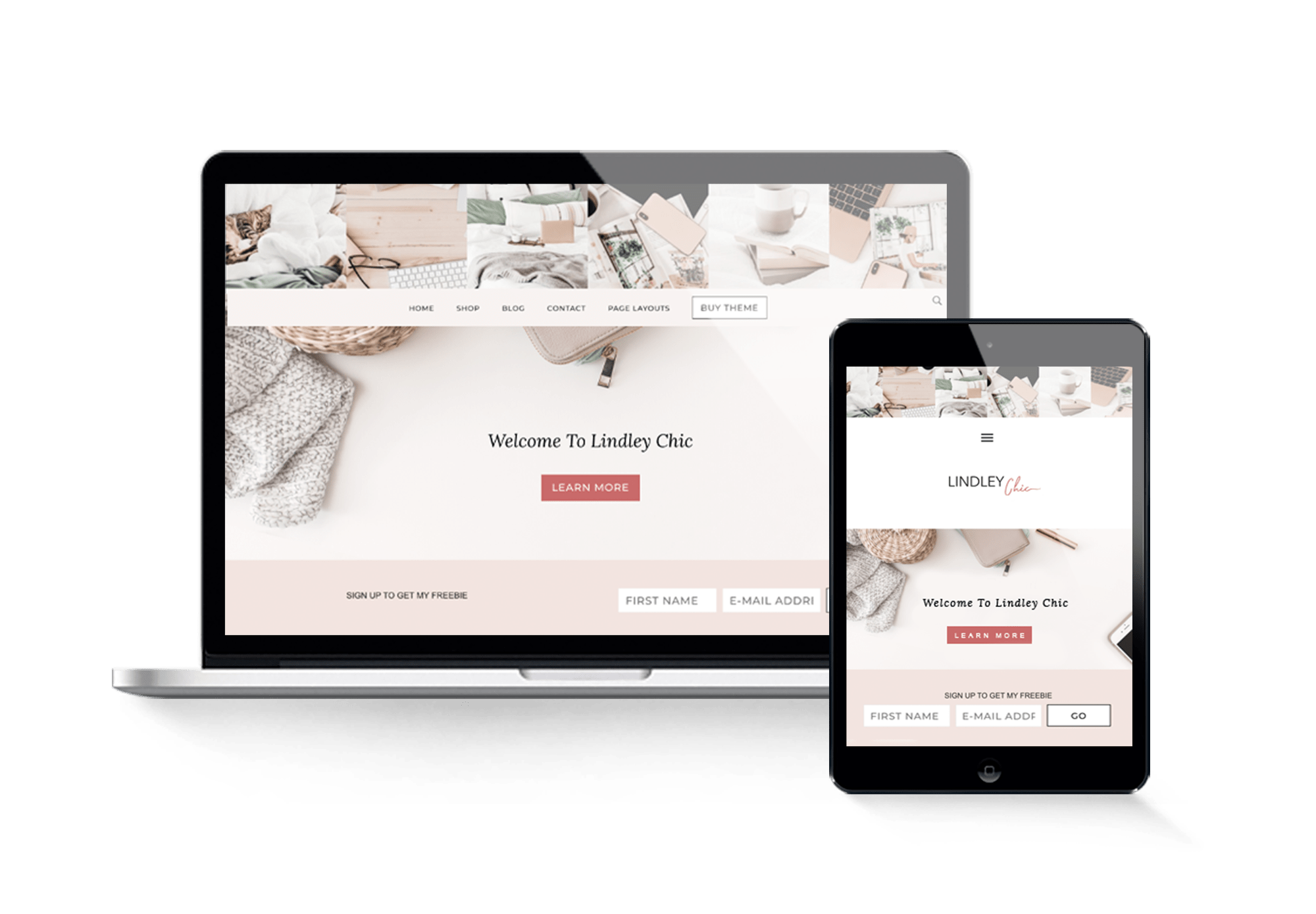 lindley chic theme sugar and code feminine wordpress template 2000